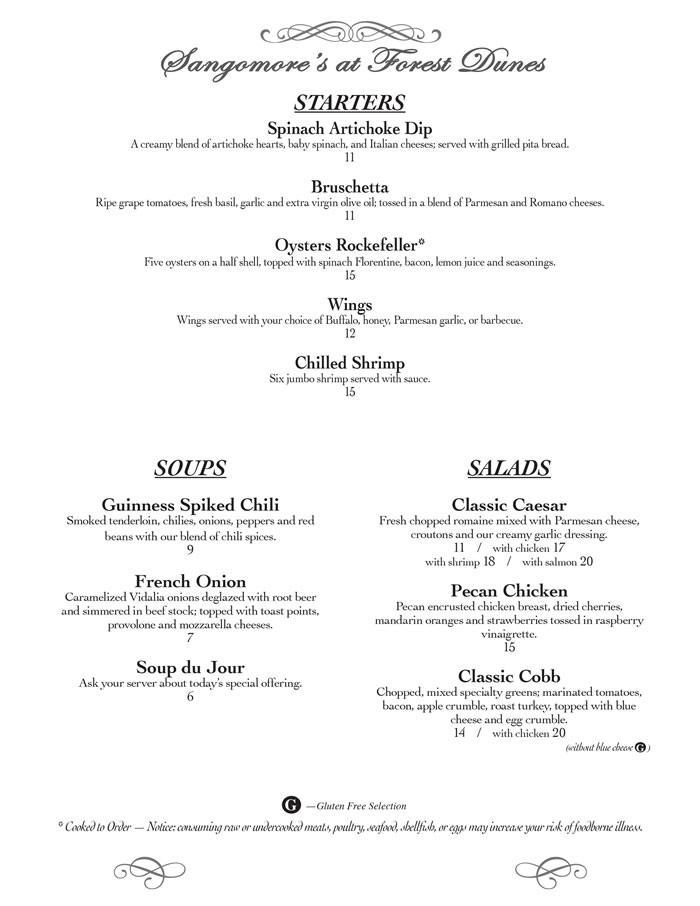 Dinner Menu - Forest Dunes Golf Club - Top Public Golf Course In